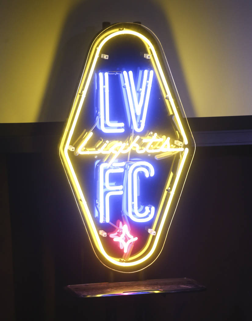 A neon sign of the Las Vegas Lights FC logo at Inspire Theater in downtown Las Vegas on Tuesday, Nov. 14, 2017. The new team, part of the United Soccer League, is slated to play at Cashman Field i ...