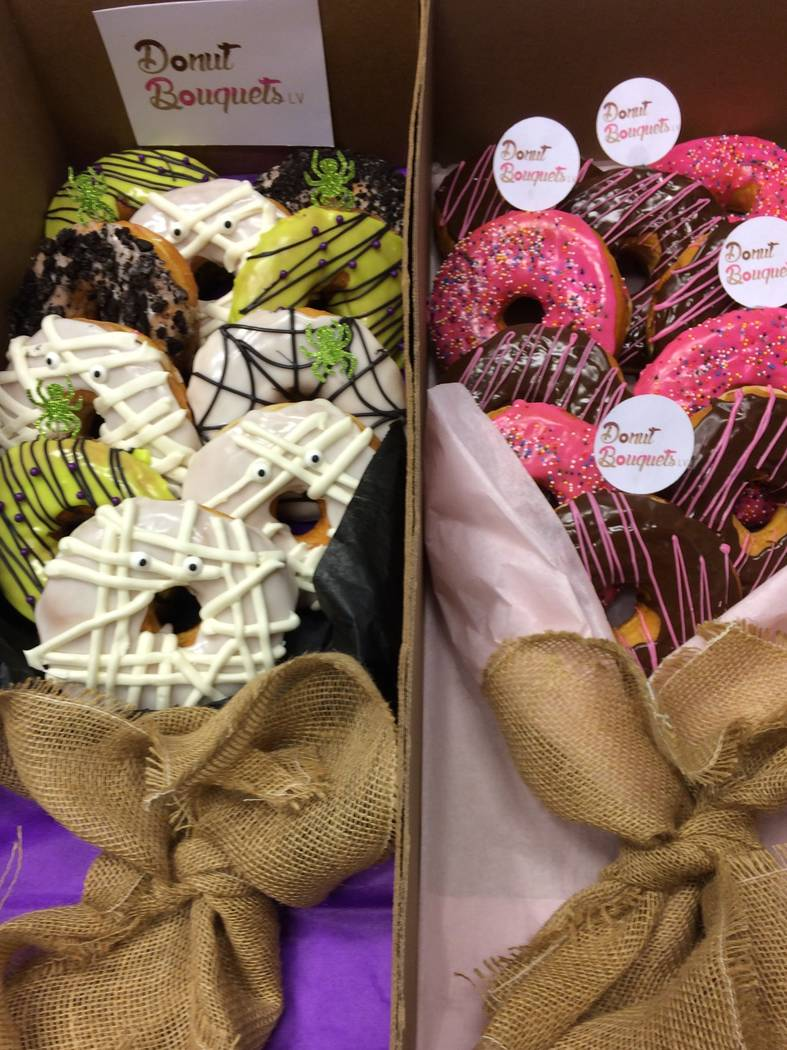 Side-by-side boxes of donut bouquets, seen  Oct. 25, 2017,  are the next arm of Cupkates business. The Tivoli Village store is looking to enter the corporate gift-giving segment as a way to divers ...