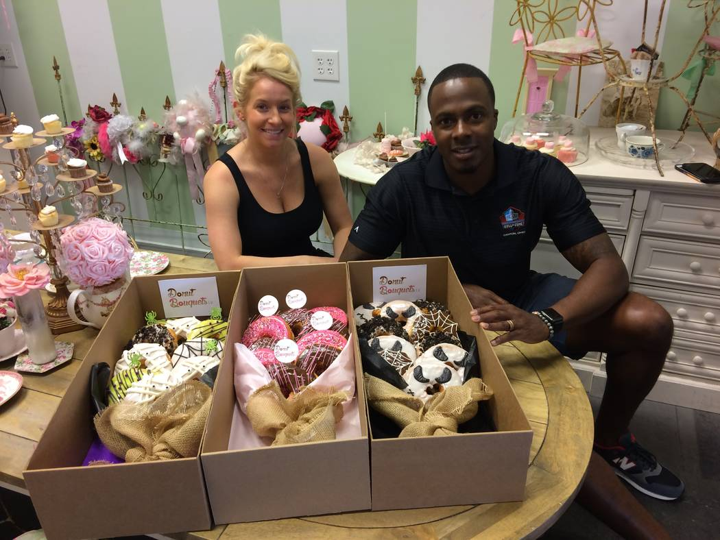 Kate and Uche Anyanwu talk Oct. 25, 2017, about their newest arm of their business, donut bouquets at Cupkates, inside Tivoli Village. Cupcakes has been a factor there for years. The key to operat ...