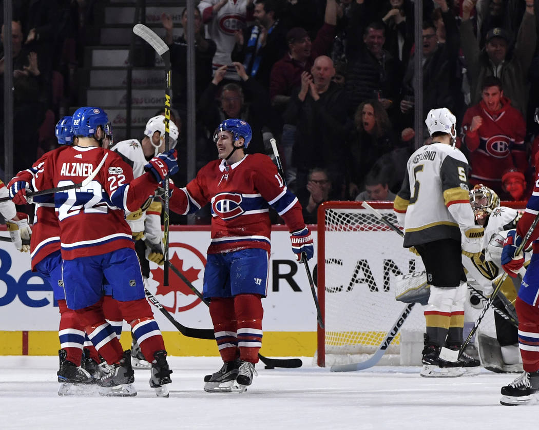 Nov 7, 2017; Montreal, Quebec, CAN; Montreal Canadiens forward Brendan Gallagher (11) reacts with teammates after scoring a goal against the Vegas Golden Knights during the first period at the Bel ...