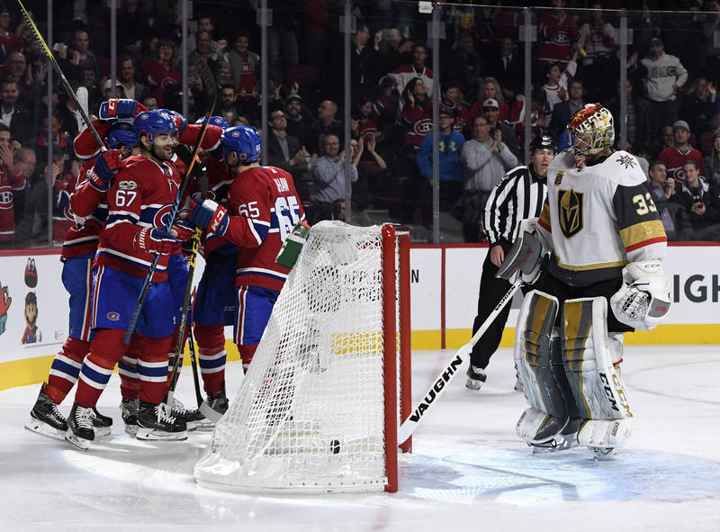 Nov 7, 2017; Montreal, Quebec, CAN; Montreal Canadiens forward Max Pacioretty (67) reacts with teammates after scoring a goal against Vegas Golden Knights goalie Maxime Lagace (33) during the seco ...