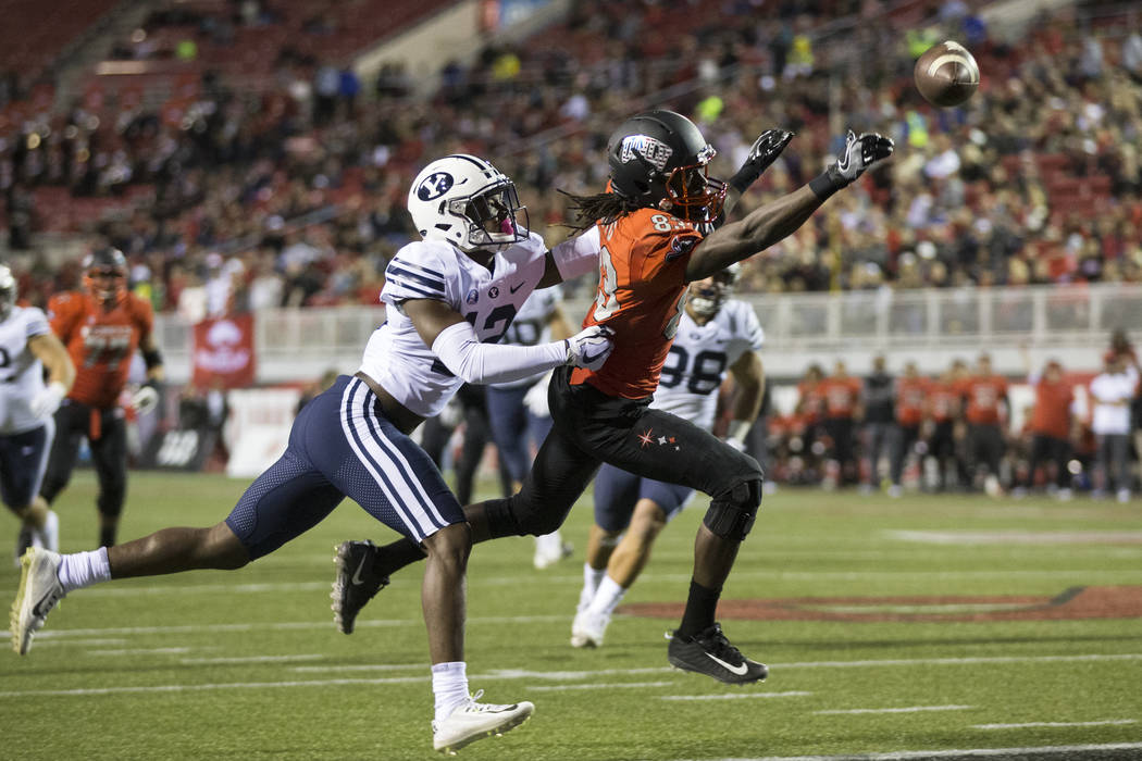 UNLV Rebels wide receiver Devonte Boyd (83) reaches for an incomplete pass against Brigham Young Cougars in the football game at Sam Boyd Stadium in Las Vegas, Friday, Nov. 10, 2017. Erik Verduzco ...