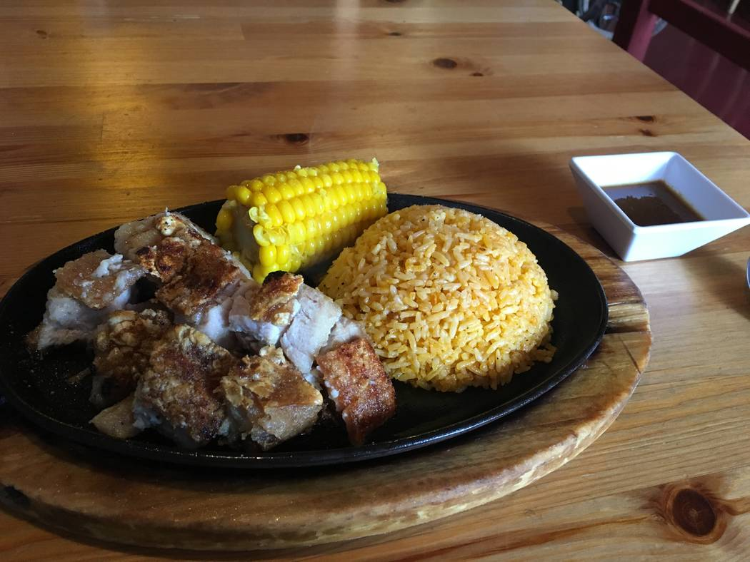 The Lechon Kawali dish, consisting of crispy pork with garlic rice and corn. (Diego Mendoza-Moyers/View) @dmendozamoyers