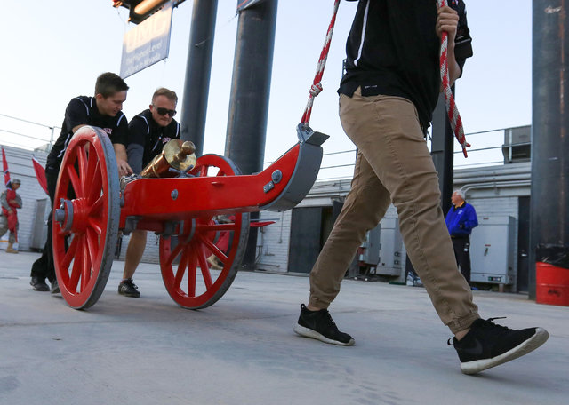 The Fremont Cannon is rolled into the Nevada locker room in the closing minutes of the UNLV Nevada football game at Sam Boyd Stadium in Las Vegas on Saturday, Nov. 26, 2016. Nevada won 45-10. Bret ...
