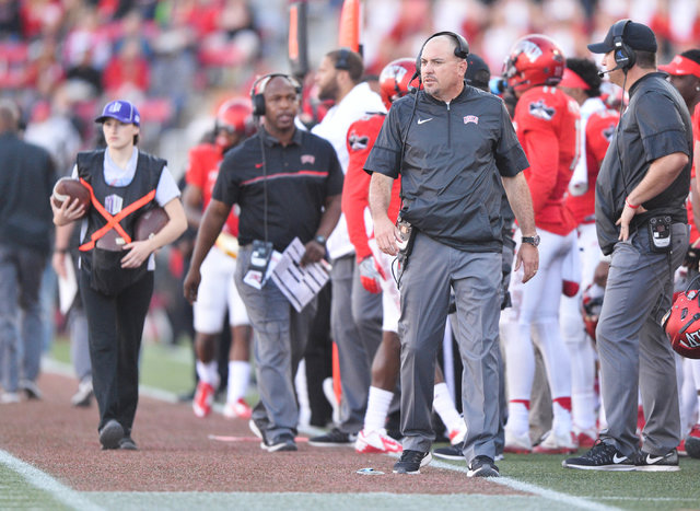 UNLV Rebels head coach Tony Sanchez walks the sidelines during the UNLV Nevada football game at Sam Boyd Stadium in Las Vegas on Saturday, Nov. 26, 2016. Brett Le Blanc/Las Vegas Review-Journal Fo ...