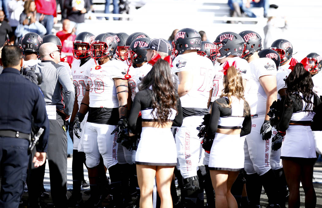 The UNLV Rebels prepare to come on the Chris Ault Field for their game against the Nevada Wolf Pack in Reno,  Saturday, Nov. 25, 2017. Heidi Fang Las Vegas Review-Journal @HeidiFang