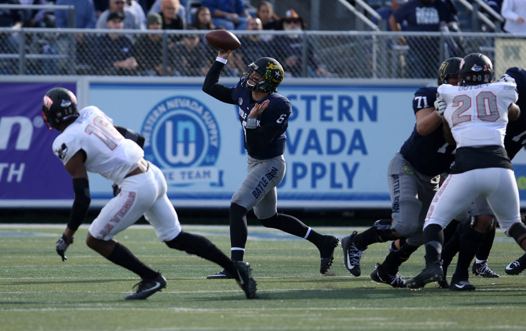 Nevada Wolf Pack quarterback Ty Gangi (6) throws the football during the first half of their game against the UNLV Rebels in Reno, Saturday, Nov. 25, 2017. Heidi Fang Las Vegas Review-Journal @Hei ...