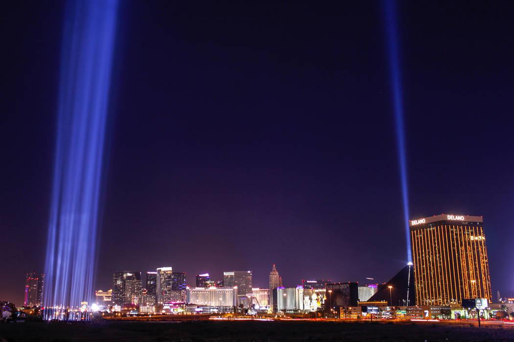 Lights are lit up at the construction site of the Raiders stadium in Las Vegas, Monday, Nov. 13, 2017. Joel Angel Juarez Las Vegas Review-Journal @jajuarezphoto