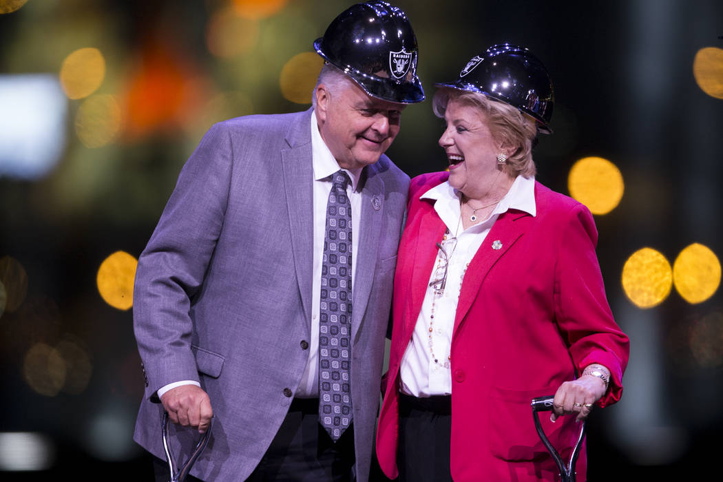 Clark County Commissioner Steve Sisolak, left, and Las Vegas Mayor Carolyn Goodman, during the Raiders stadium groundbreaking ceremony in Las Vegas, Monday, Nov. 13, 2017. Erik Verduzco Las Vegas  ...