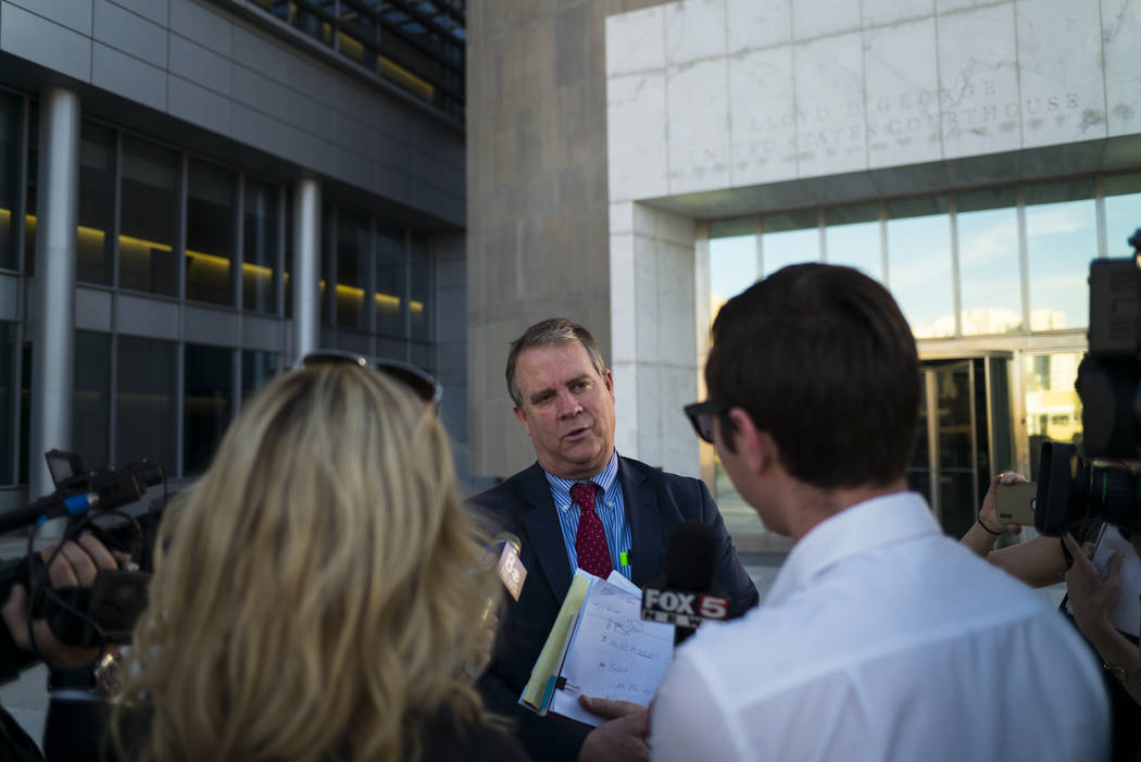 Bret Whipple, defense attorney for Nevada rancher Cliven Bundy, speaks with members of the news media outside the Lloyd George U.S. Courthouse in downtown Las Vegas on Tuesday, Nov. 14, 2017. Open ...