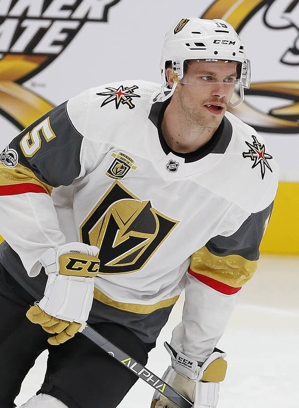 Nov 14, 2017; Edmonton, Alberta, CAN; Vegas Golden Knights defensemen Jon Merrill (15) skates during warmup prior to the game against the Edmonton Oilers at Rogers Place. (Perry Nelson-USA TODAY S ...