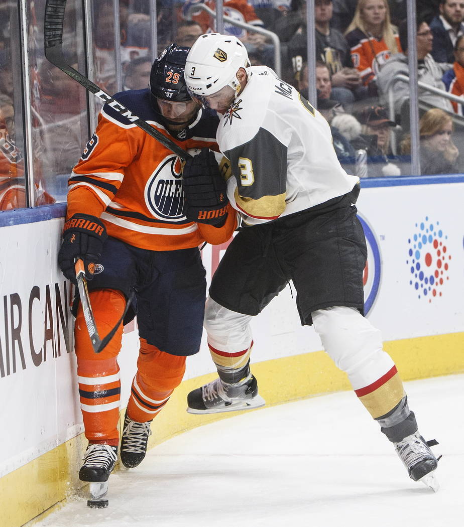 Vegas Golden Knights' Brayden McNabb (3) checks Edmonton Oilers' Leon Draisaitl (29) during the second period of an NHL hockey game Tuesday, Nov. 14, 2017, in Edmonton, Alberta. (Jason Franson/The ...