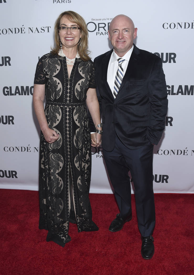 Gabby Giffords, left, and Mark Kelly attend the 2017 Glamour Women of the Year Awards at Kings Theatre on Monday, Nov. 13, 2017, in New York. (Photo by Evan Agostini/Invision/AP)