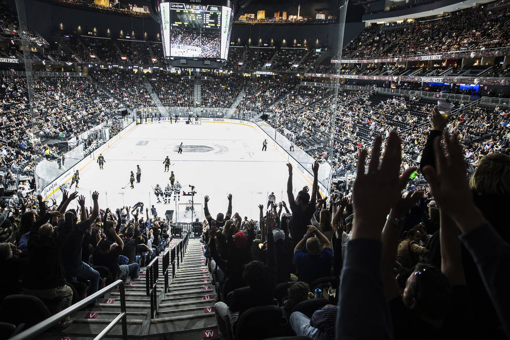 Fans do the wave during the first period of the Vegas Golden Knights first home preseason game with the Los Angeles Kings on Wednesday, Sept. 26, 2017, at T-Mobile Arena, in Las Vegas. Benjamin Ha ...