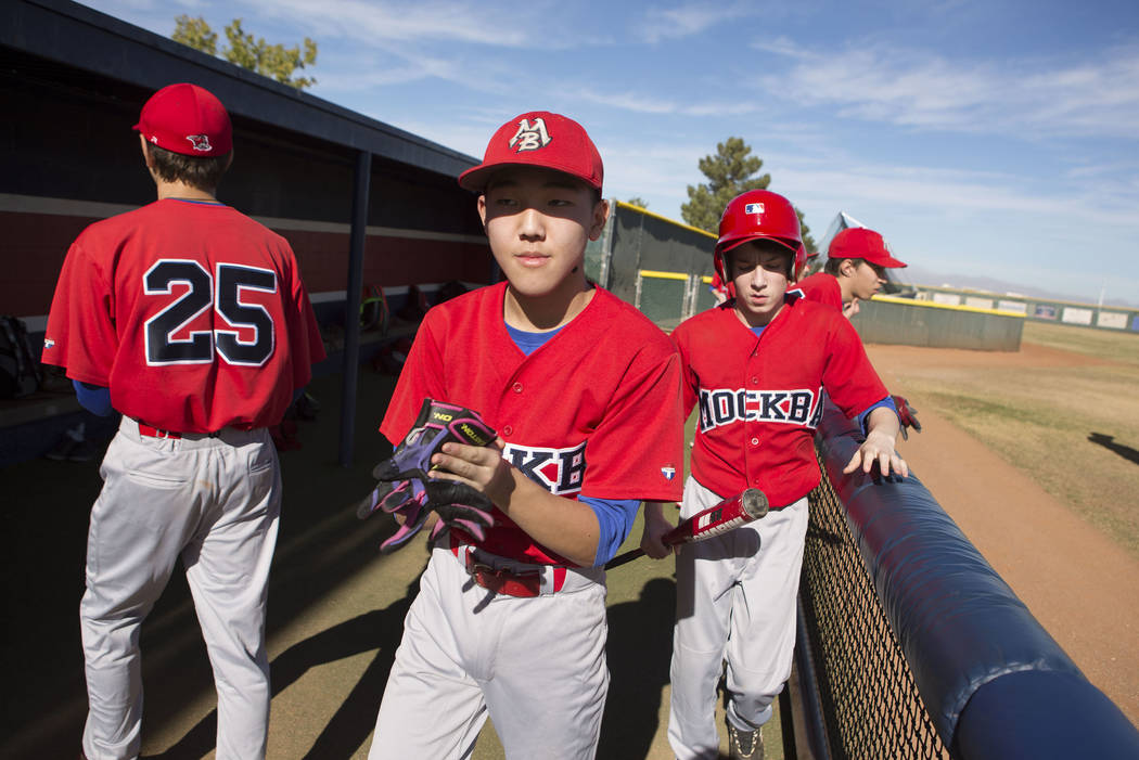 Players from the traveling youth baseball team Russian Wolves from Moscow take the the field during a game at Coronado High School in  Henderson, Friday, Nov. 24, 2017. Bridget Bennett Las Vegas R ...