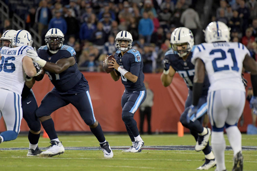 Oct 16, 2017; Nashville, TN, USA; Tennessee Titans quarterback Marcus Mariota (8) throws a pass against the Indianapolis Colts at Nissan Stadium. Mandatory Credit: Kirby Lee-USA TODAY Sports