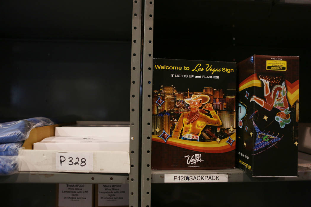 A mini Welcome to Las Vegas Sign is in the Las Vegas Convention and Visitors Authority warehouse in Las Vegas, Tuesday, Oct 31, 2017. The LVCVA warehouse is filled with goodies like iPads, speaker ...