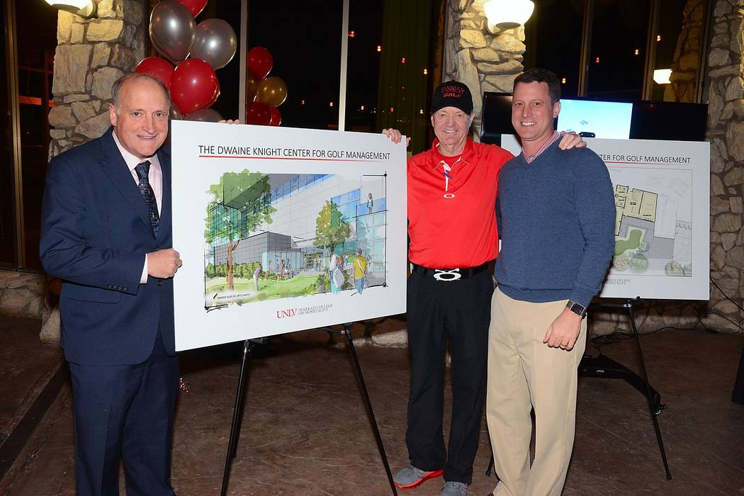 Harrah College of Hospitality Dean, Dr. Stowe Shoemaker (left), UNLV men's head golf coach Dwaine Knight, and professional golf management director, Dr. Chris Cain (right), reveal the new Dwaine K ...