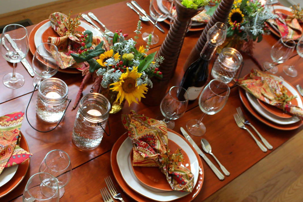 Skyros Designs The first step of any great Thanksgiving meal? It's all about the presentation. Layer basic elements to achieve an extraordinary effect