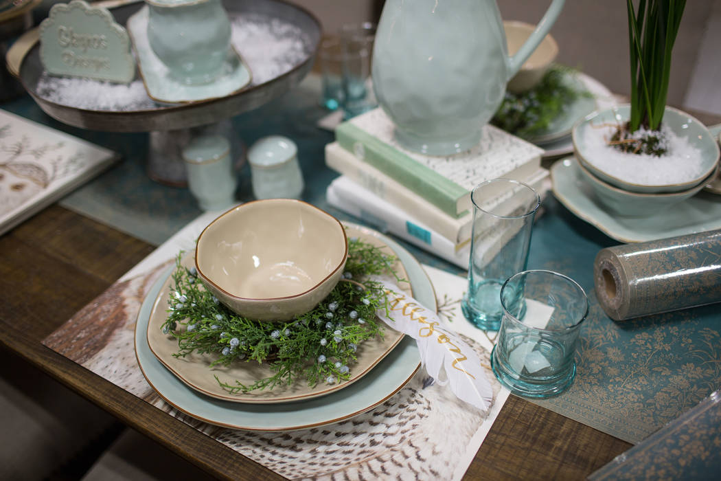 Skyros Designs Pale blue and sand-colored dinnerware can be dressed up for the holidays or dressed down for everyday use.
