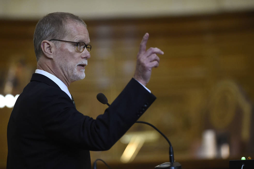 Attorney for Remington Arms, James Vogts, argues before the state Supreme Court in response to a lawsuit against the gun manufacturer in Hartford, Conn., Tuesday, Nov. 14, 2017.   A survivor and r ...