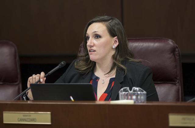 Sen. Nicole Cannizzaro, D-Las Vegas, listens to testimony during the Nevada Legislative session on Thursday, Feb. 9, 2017, in Carson City. (Benjamin Hager/Las Vegas Review-Journal) @benjaminhphoto