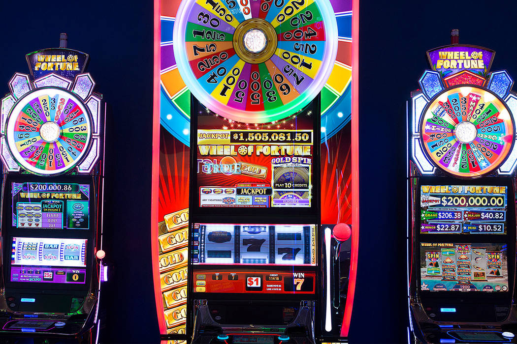 A Wheel of Fortune mega tower in the showroom at International Game Technology, also referred to as IGT, on Wednesday, Sept. 20, 2017, in Las Vegas. Bridget Bennett Las Vegas Review-Journal @bridg ...