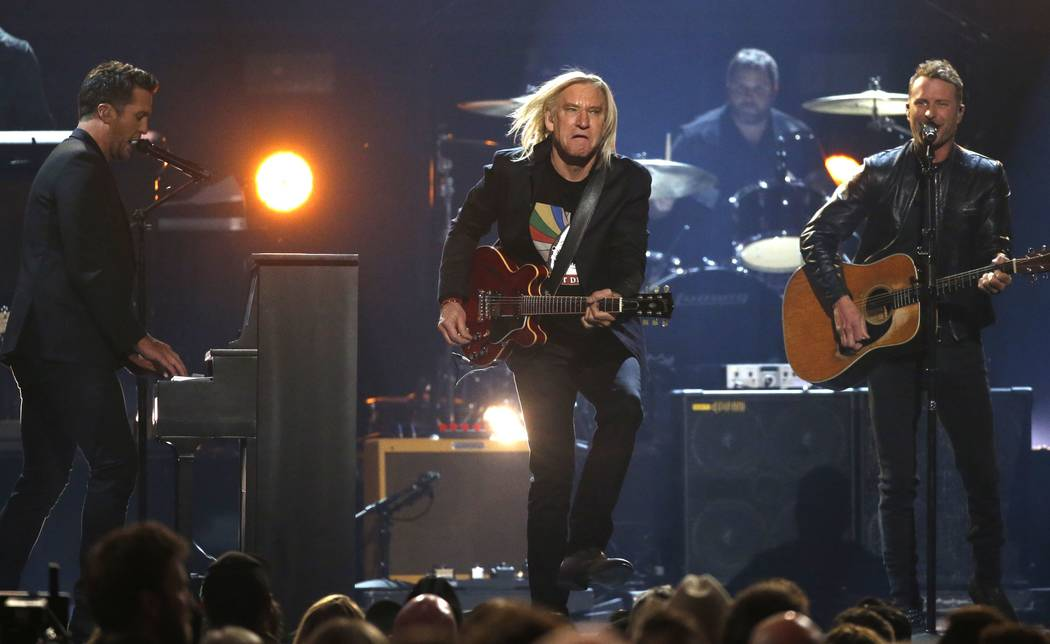 "Joe Walsh (R) and Luke Bryan (L)  perform ""Johnny Be Good."" at the 52nd annual Academy of Country Music Awards at the T-Mobile Arena on Sunday, April 2, 2017, in Las Vegas. Mario Anzuoni/Reuters"