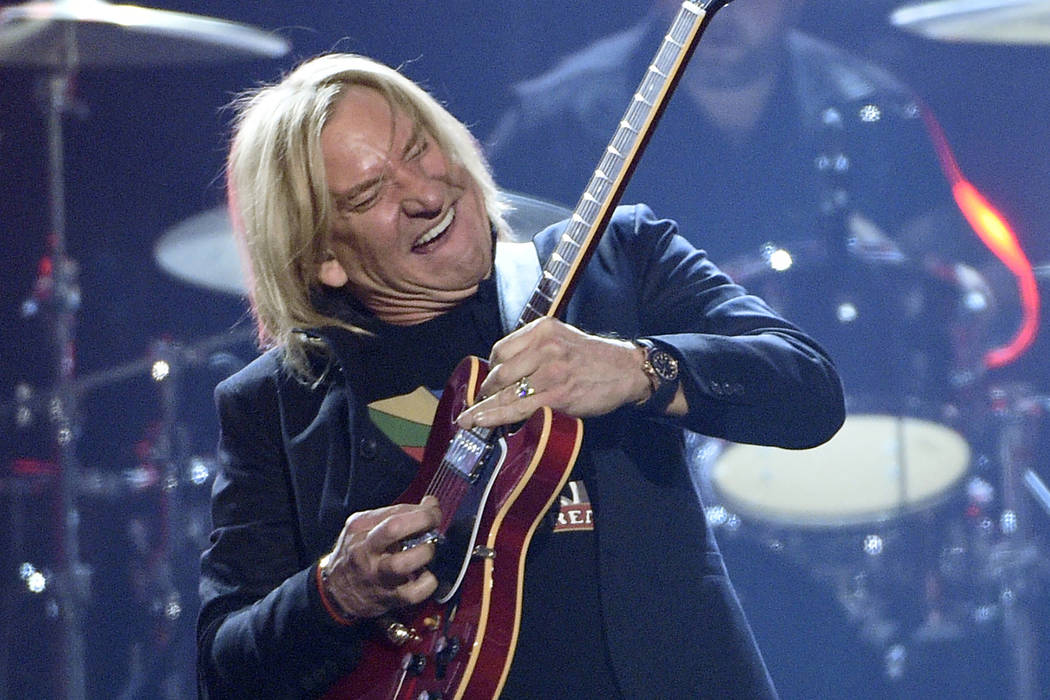"Joe Walsh performs ""Johnny B. Goode"" at the 52nd annual Academy of Country Music Awards at the T-Mobile Arena on Sunday, April 2, 2017, in Las Vegas. (Photo by Chris Pizzello/Invision/AP)"