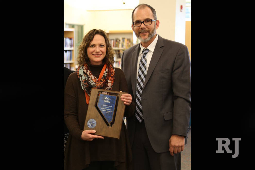 Damonte Ranch High School art teacher Pilar Biller, left, is shown with Nevada Superintendent of Public Instruction Steve Canavero. Biller has been named the 2018 teacher of the year by the Nevada ...