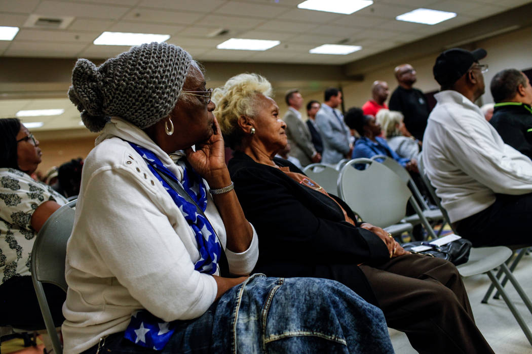 Lavalle Moore, 77, left, and Myrtle L. Wilson, 75, right, listen during a town hall meeting at the Pearson Community Center discussing the future of the Moulin Rouge site in Las Vegas, Thursday, N ...