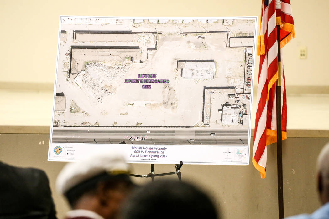 A diagram laying out the site of the Moulin Rouge is displayed during a town hall meeting at the Pearson Community Center in Las Vegas, Thursday, Nov. 16, 2017. Joel Angel Juarez Las Vegas Review- ...