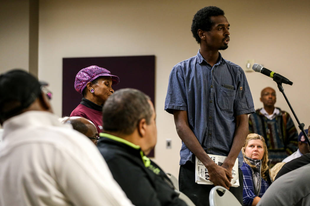 Johnson John Lester, 34, of Las Vegas, speaks during a town hall meeting at the Pearson Community Center discussing the future of the Moulin Rouge site in Las Vegas, Thursday, Nov. 16, 2017. Joel  ...