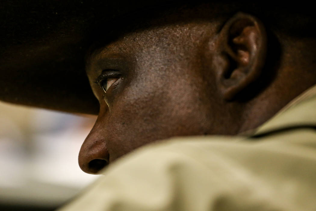 Pastor Charles Seals, 62, son of Rosie Lee Seals who was the president of the Clark County Welfare Rights Organization, listens during a town hall meeting at the Pearson Community Center discussin ...