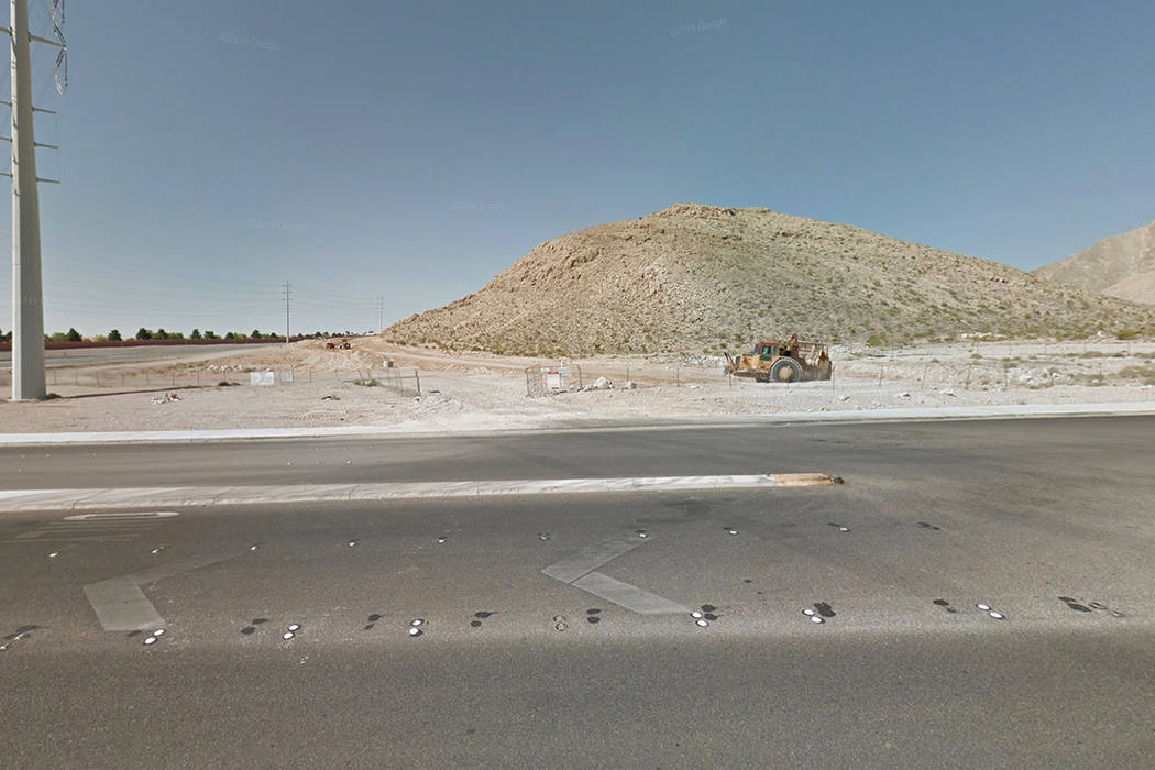 The 3400 block of Cliff Shadows Parkway, near Cheyenne Avenue and the 215 Beltway. Google Street View image.