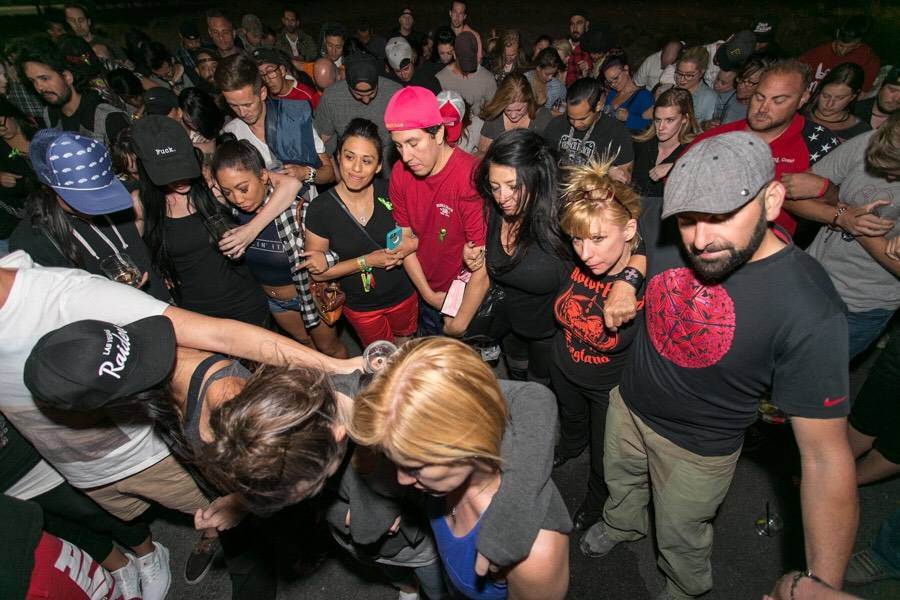 Bartenders, assistants and servers who worked the Route 91 Harvest music festival gather at a meetup held at the Born and Raised sports bar and tavern near Las Vegas on Oct. 3. Held two days after ...