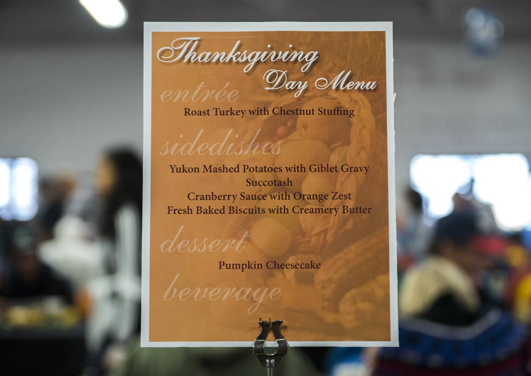 The menu for Catholic Charities annual Thanksgiving meal where about 175 volunteers help feed about 1,500 people from the Catholic Charities complex in Las Vegas on Thursday, Nov. 26, 2015. (Marti ...