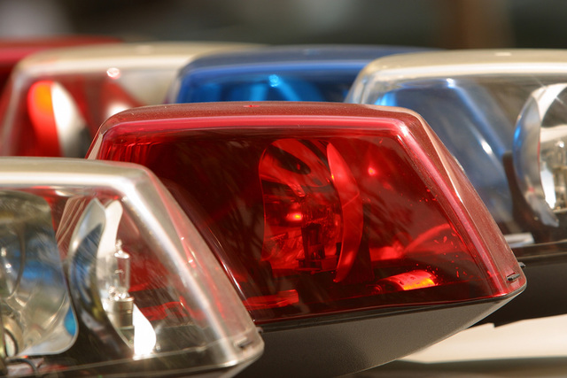 Close-up of lights on roof of police car. (Thinkstock)