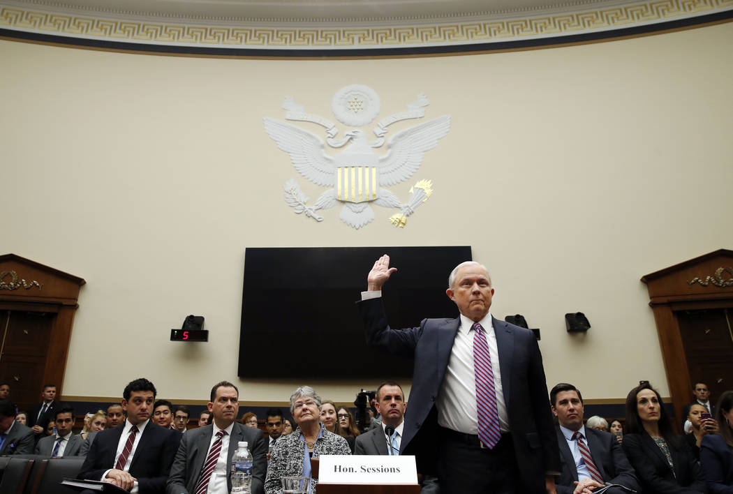 Attorney General Jeff Sessions is sworn in before the House Judiciary Committee on Capitol Hill, Tuesday, Nov. 14, 2017 in Washington. Sessions is expected to answer a range of questions from Russ ...