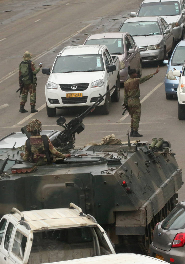Military vehicles and soldiers patrol the streets in Harare, Zimbabwe, November 15,2017. (Philimon Bulawayo/Reuters)