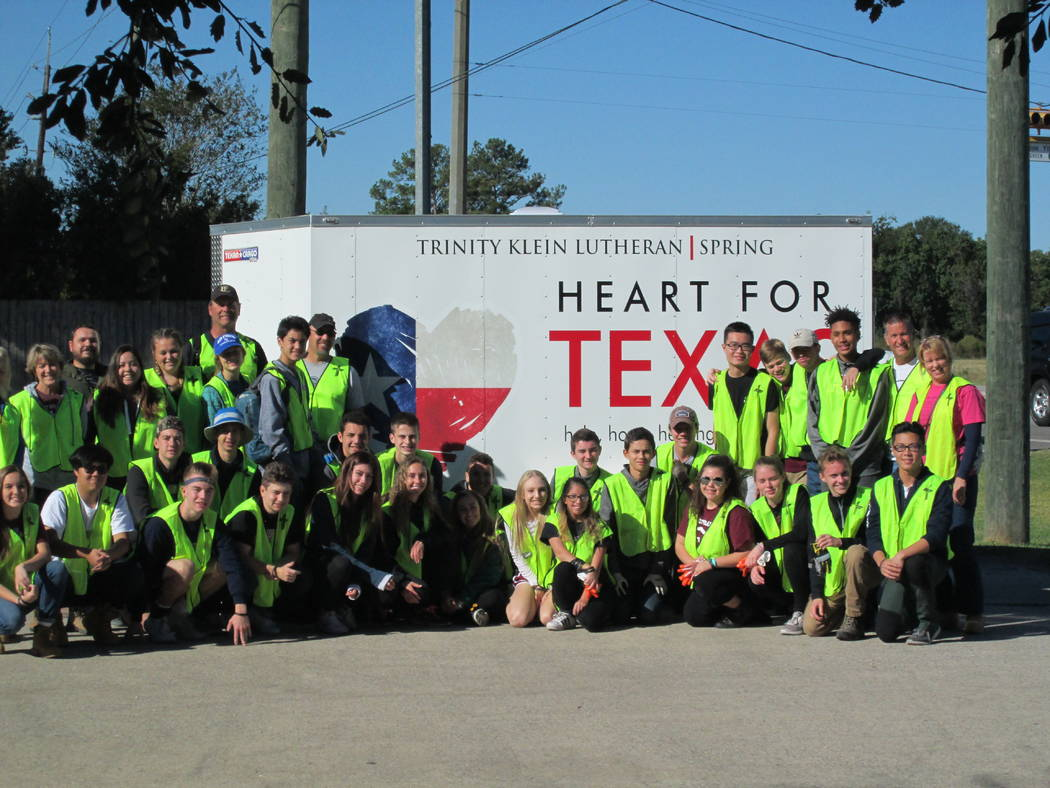 Students of Faith Lutheran Middle & High School pause for a photo in late October 2017 after traveling to Houston to help removed damage from homes swamped by Hurricane Harvey. The 29 students ...