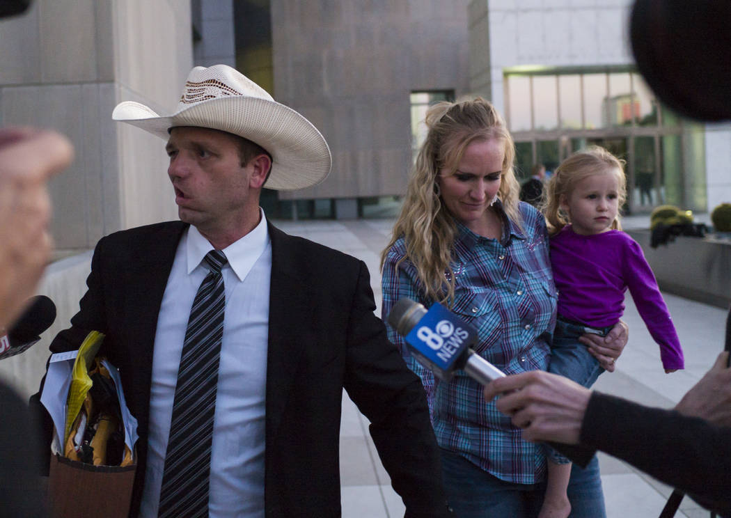 Ryan Bundy, son of Nevada rancher Cliven Bundy, leaves the Lloyd George U.S. Courthouse with his wife, Angela, in downtown Las Vegas on Tuesday, Nov. 14, 2017. On Wednesday, Ryan Bundy gave an ope ...
