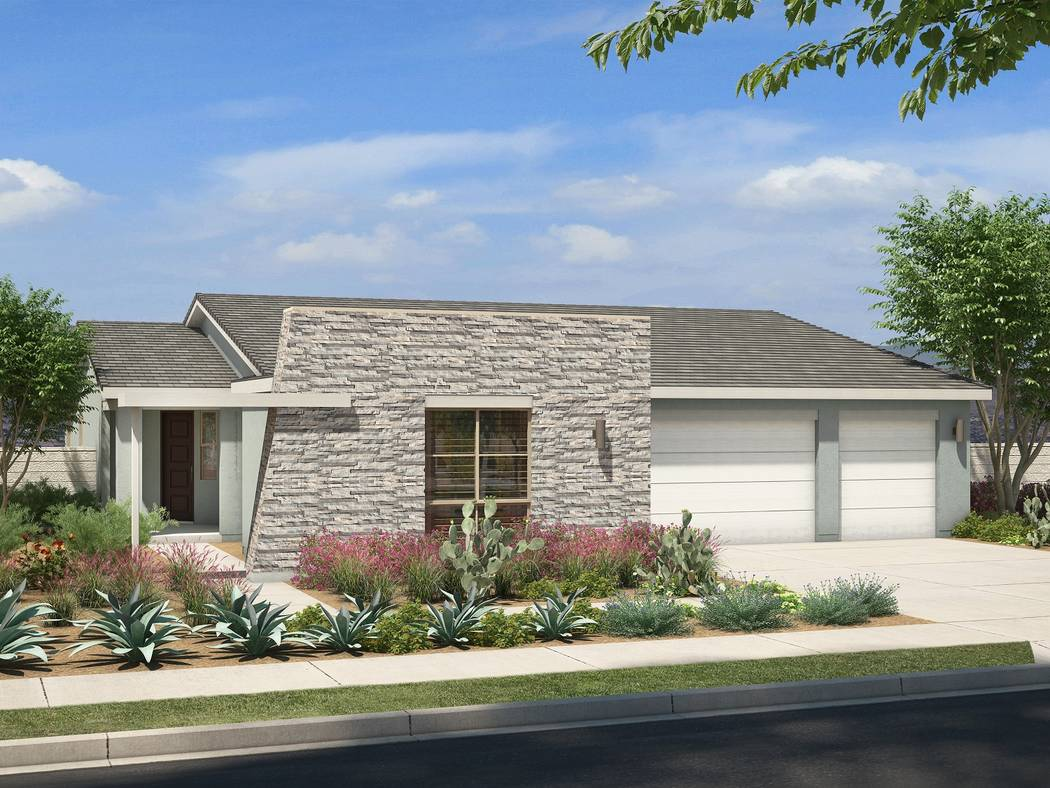 Pardee Homes' Luma neighborhood will debut with three new single-story floor plans on Dec. 2. Shown is a rendering of the Plan One in the Desert Contemporary elevation. (Pardee Homes)