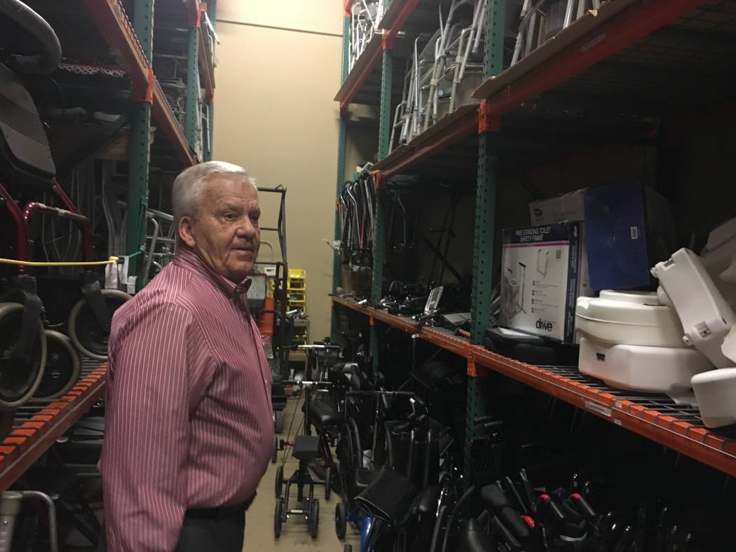 The Foundation Assisting Seniors co-founder Favil West, 80, shows the warehouse that stores medical equipment, which is available for use by any senior across the Las Vegas Valley. (Diego Mendoza- ...