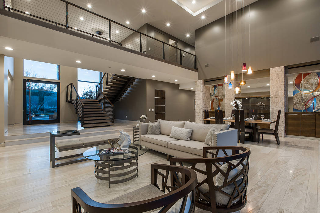 Shapiro & Sher Group The two-story, 7,138-square-foot home has a desert contemporary style.