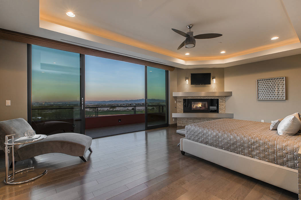 Shapiro & Sher Group The master bedroom has views of the Las Vegas Valley.