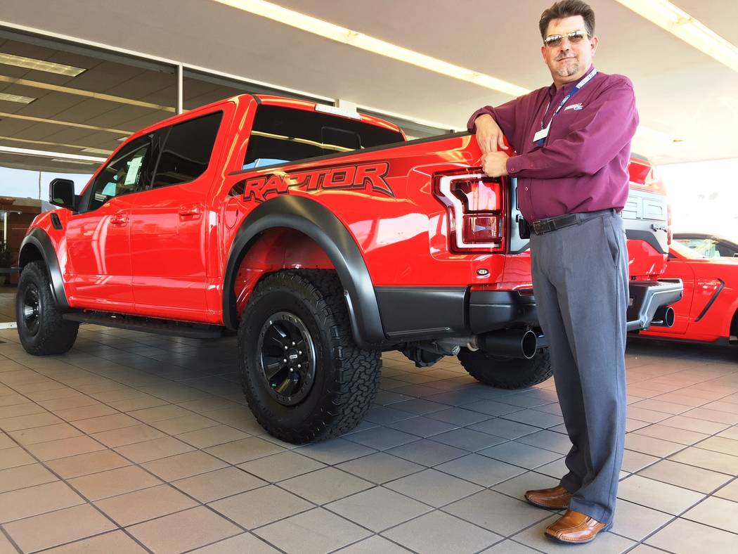 Friendly Ford Friendly Ford sales consultant David Boehle shows off the 2018 Ford Raptor F150 at the dealership at 660 N. Decatur Blvd.