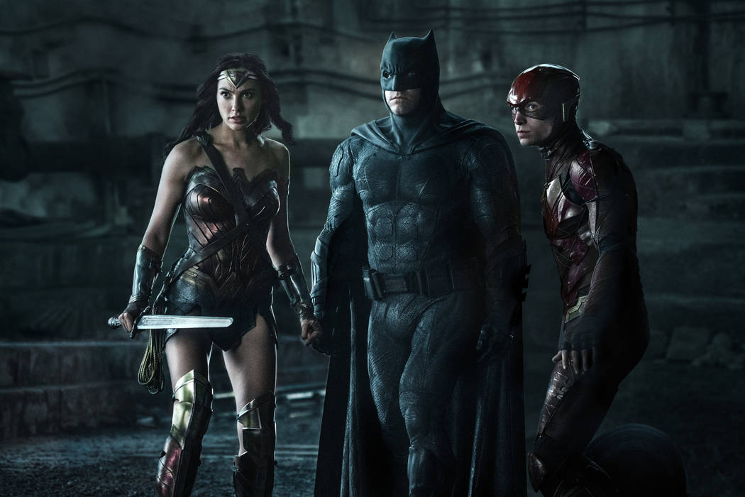 "Photo Credit: Clay Enos/ TM & © DC Comics  Caption: (L-r) GAL GADOT as Wonder Woman, BEN AFFLECK as Batman and EZRA MILLER as The Flash in Warner Bros. Pictures' action adventure ""JUSTICE LEA ..."