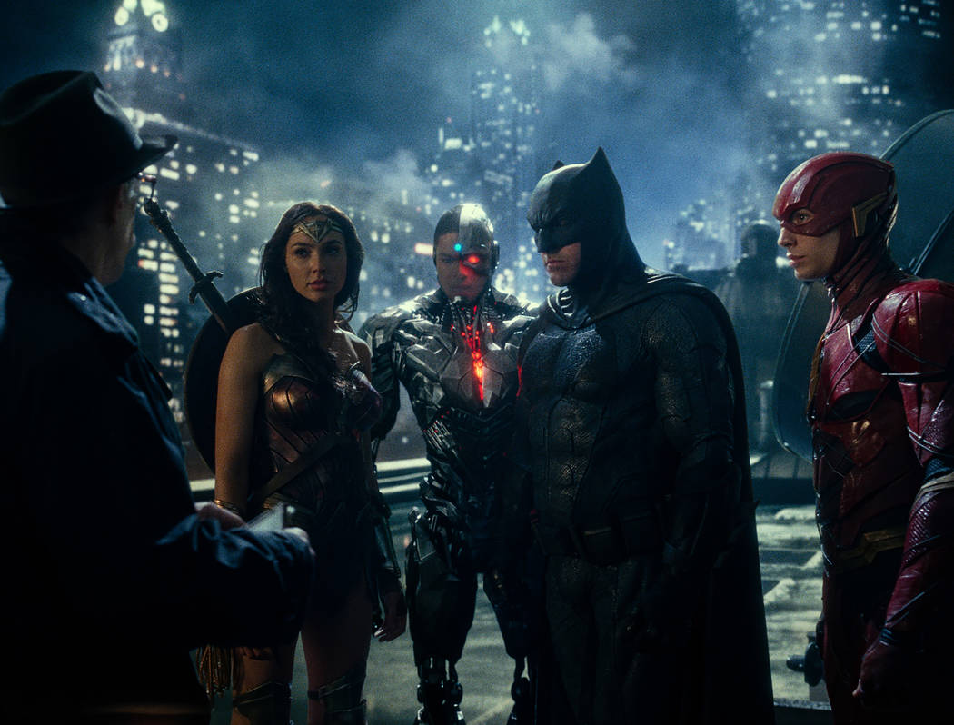 Photo Credit: Courtesy of Warner Bros. Pictures/ TM & © DC Comics  Caption: (L-R) J.K. SIMMONS as Commissioner Gordon, GAL GADOT as Wonder Woman, RAY FISHER as Cyborg, BEN AFFLECK as Batman a ...