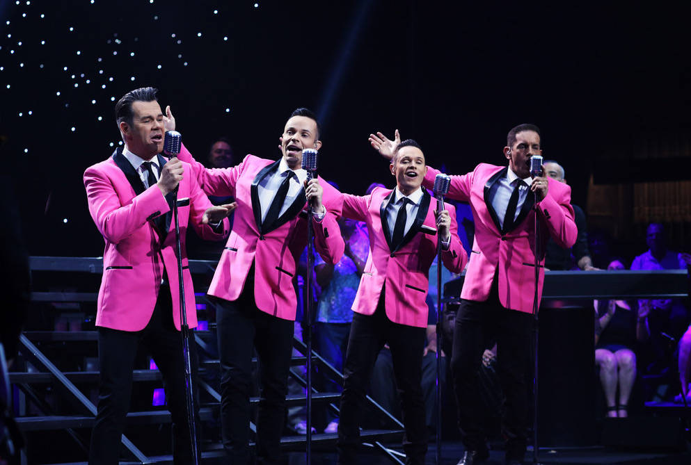 The lineup of Venetian headliners Human Nature, from left: Phil Burton, Andrew Tierney, Mike Tierney and Toby Allen, are shown at Venetian Theater during a taping for PBS on May 23, 2017. (Human N ...